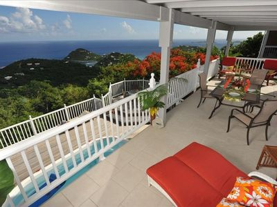 Villa deck with beautiful views over St John and Caribbean Sea