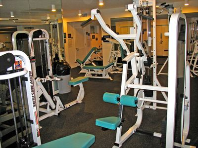 The state of the art fitness room on the beachside, bottom level.