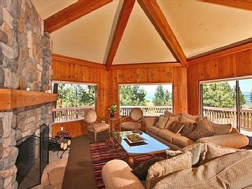 "Al Tahoe estate rental - ""Alaska Room"" with large wood burning fireplace and awesome lake and mnt. views"