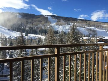 All Seasons condo rental - Winter view from balcony / View Pepi's Face, Linsey, Giant Steps & Golden Peak
