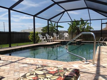 Cape Coral house rental - Enjoy the Florida sun all year round with our south facing heated pool and spa