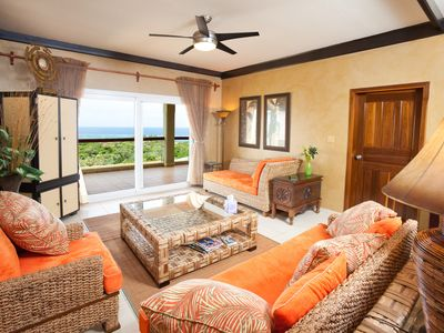 Comfy living room with ocean view