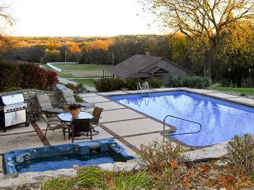 Manhattan estate rental - Perfectly situated, the Pool + Hot Tub overlook the Blue Sage Barn