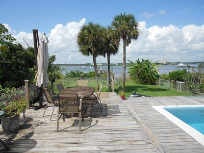Pool & deck overlooking our private dock and intercoastal river
