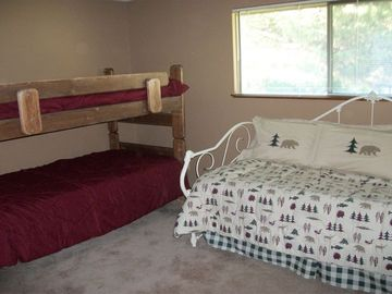 The Pine Tree bedroom sleeps 4 with bunk and trundle