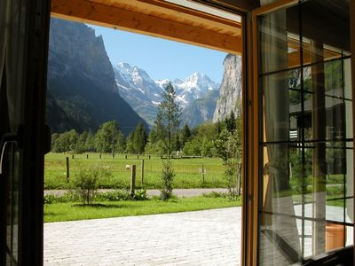 'The Lauterbrunnen Valley in all its glory' from inside the apartment