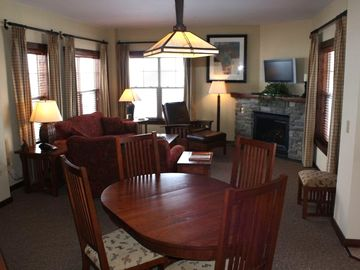 Snowshoe Mountain condo rental - Dining and Living Room the largest 2 Bedroom Floor plan