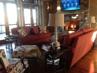 Franklin lodge photo - Comfortable furnishings, large screen TV and gas fireplace.