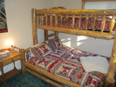 Tahoma house rental - Third Bedroom has a Queen and a Twin Log Bed.