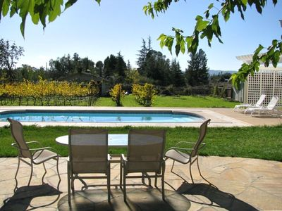 Sonoma house rental - Backyard Patio overlooking the Pool, Cabana and Vineyard