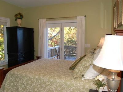 Main Level Green Queen Bedroom with Ensuite Bath, TV/DVD and Mountain Views
