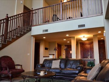 Park City condo rental - Living Room and Loft upstairs, sofa sleepers in both living room and loft
