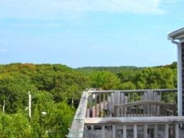 Treetops, dunes and water from the private top deck!