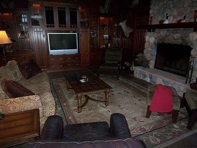 "Media room/ fireplace, 50"" HD TV, Blu-ray player, surround sound, sleeper sofa"
