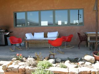Taos house photo - Back Viewing Deck with Dining Table, Hot Tub and Grill.
