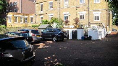 Rear of property with off street parking