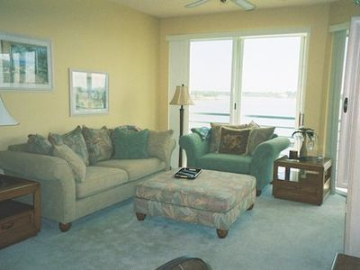 Living room overlooking Boca Ciega Bay