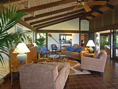 Spacious living room opens to furnished lanai