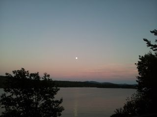 Lake Winnisquam house photo - Moonrise from deck