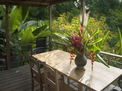 Cottage balcony with mango orchard backdrop