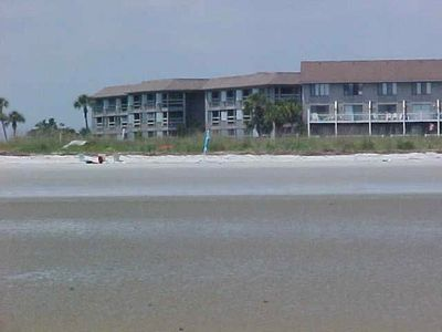 Beach Hse Villas from beach. The blue pole in the middle of pic is where we are