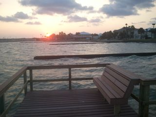 Rockport house photo - Sunset from new private pier over Aransas Bay at front of house