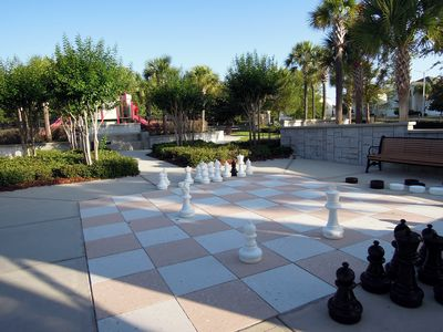 Jumbo chess board and playground. The resort offers 7 different playgrounds.