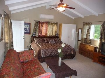 Comfortable king size bed (upstairs)