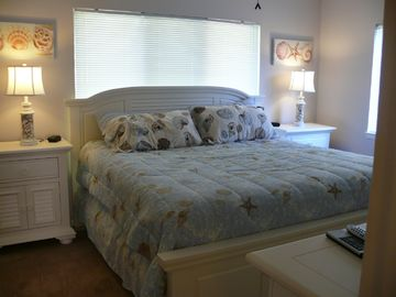 Master bedroom with king size bed and full bath