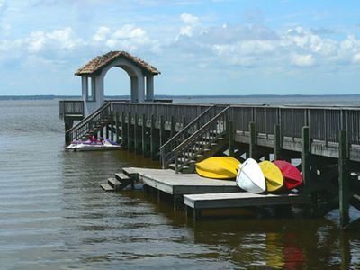Kayak Rentals and pier into the sound. A great place to watch the sunsets