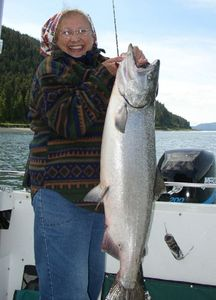 King salmon are one reason people visit Hoonah.  Large halibut are also common.