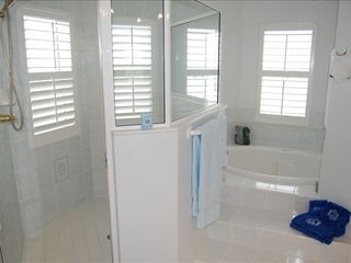 St. Augustine house photo - Master Bath with jacuzzi tub and shower .. overlooking the ocean ...