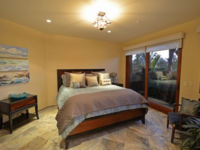 Giant Bird of Paradise Master Bedroom with Japanese Soaking Tub in Master Bath