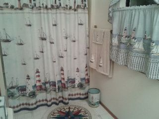 Camano Island house photo - Full bath with tub and cute nautical theme