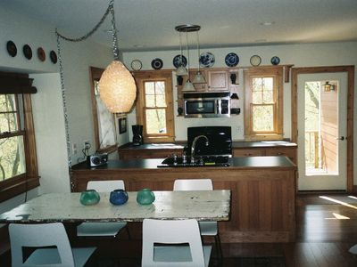 View of kitchen toward deck