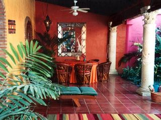 Sayulita house photo - FRONT PATIO, LOOKING IN TO DINING SPACE WITH HANDCARVED CANTERA COLUMNS