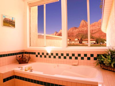 View from master suite bathroom with jacuzzi tub