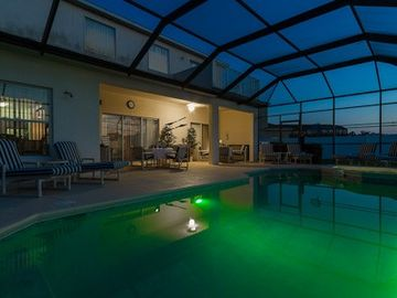 Changing coloured light in pool - soft blue,green and dark blue