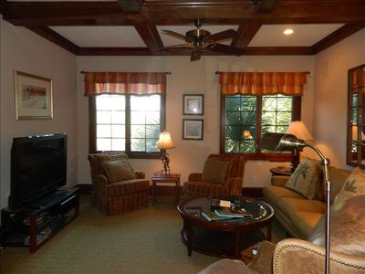 Den w/ comfortable seating, flat screen TV, Blu-Ray player, Wet bar, & work desk