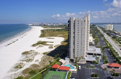 Birdseye View of Lighthouse Towers and Sand Key Beach