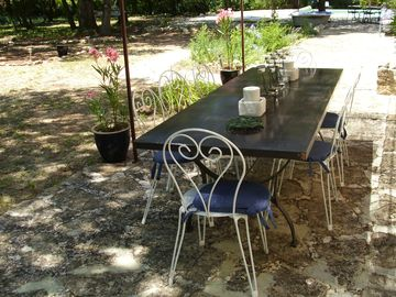 Terrace with large iron table (sits 10)