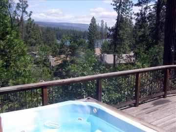 Oakhurst cabin rental - View of the lake, mountains and forest from the deck and hot tub