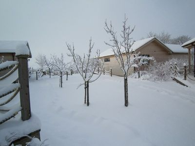 log cabins in snow