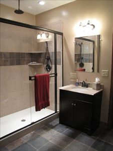 Double walk-in shower in the master bath