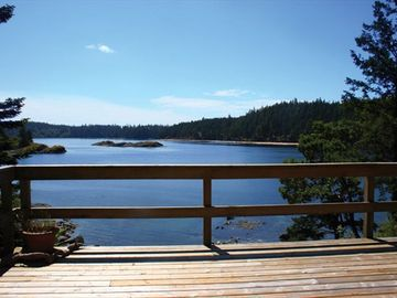 View from the Arbutus Lodge deck of Gowlland Harbour.