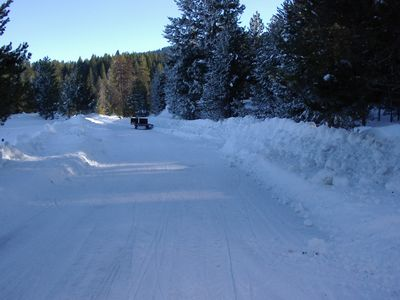 Peterson Loop Road in winter. Maintained by Valley County.