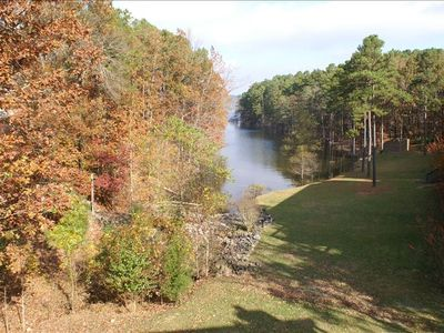 View of lake from deck in the fall