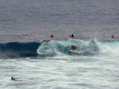 This photo was taken from the lanai! The surfers are great to watch!