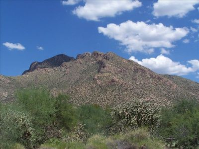 Beautiful mountain views from our yard- this is Pusch Ridge from the backyard.