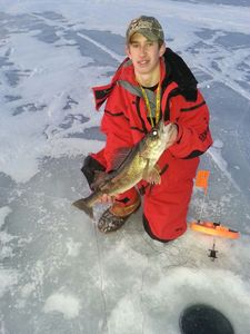 One of our guests (Zane) ice fishing